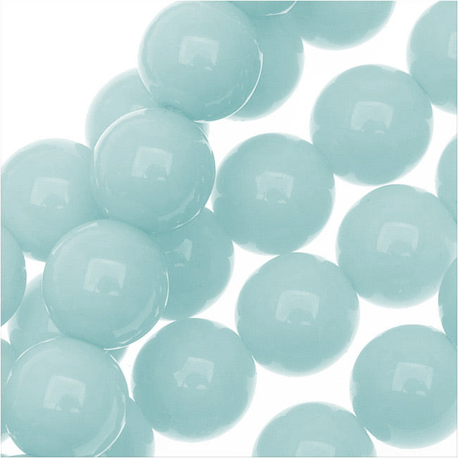 Czech Glass Pastella Collection, Smooth Round Druk Beads 8mm, 1 Strand, Baby Blue