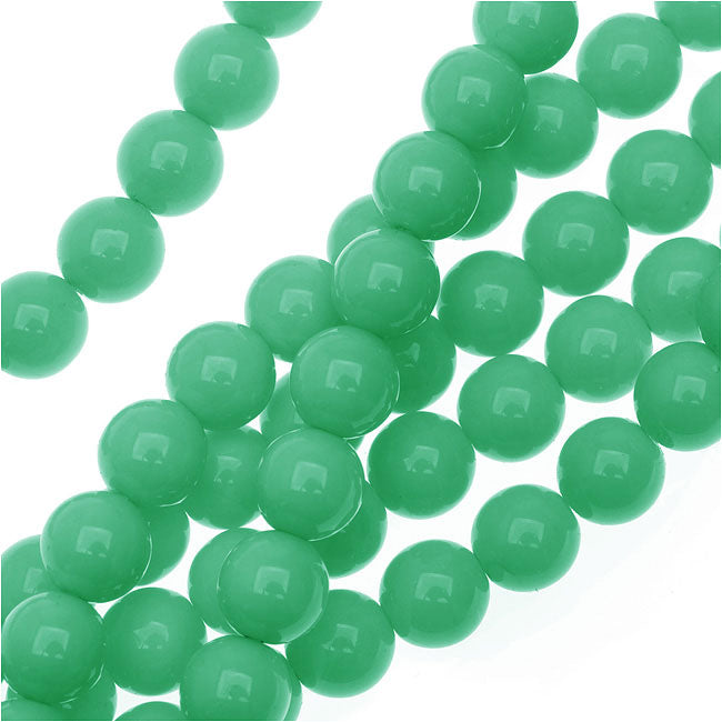 Czech Glass Pastella Collection, Smooth Round Druk Beads 8mm, 1 Strand, Green Turquoise
