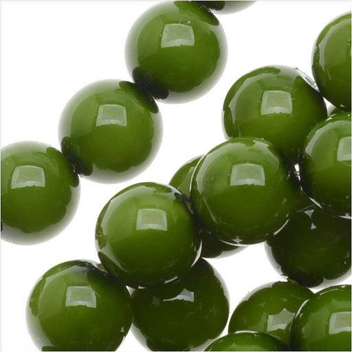 Czech Glass Pastella Collection, Smooth Round Druk Beads 8mm, 1 Strand, Olive Green