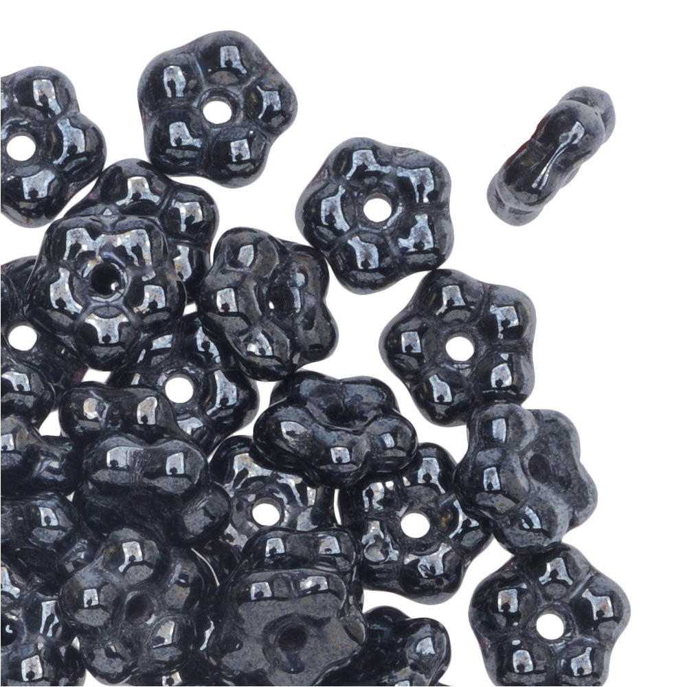 Preciosa Czech Glass, Forget Me Not Flower Spacer Beads 5mm, 72 Pieces, Hematite