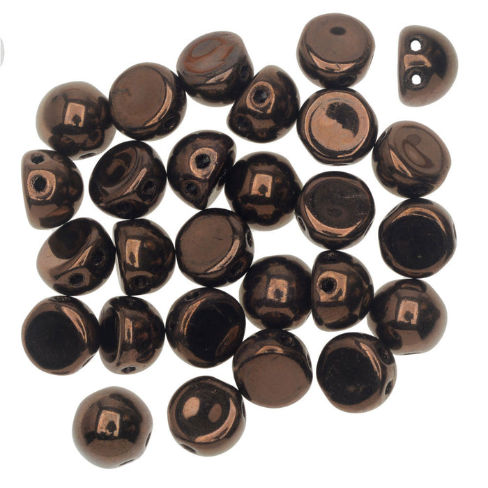 CzechMates Glass, 2-Hole Round Cabochon Beads 7mm Diameter, 25 Pieces, Dark Bronze