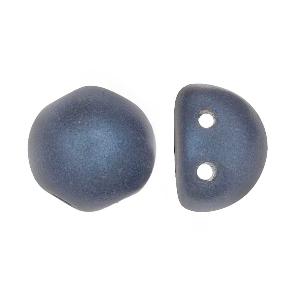 CzechMates Glass, 2-Hole Round Cabochon Beads 7mm Diameter, 25 Pieces, Metallic Blue Suede