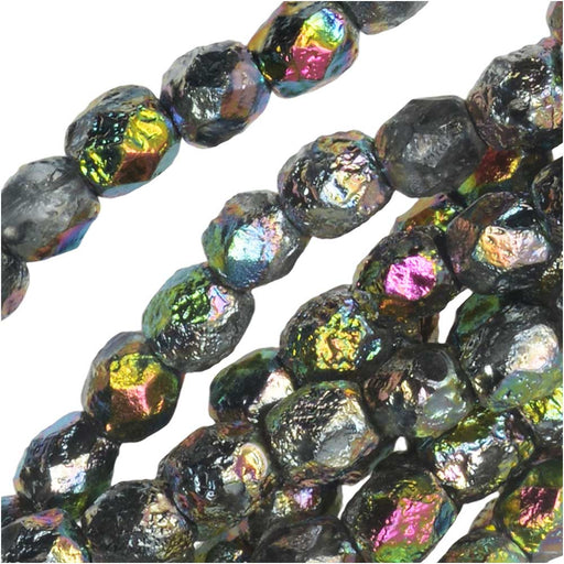 Czech Fire Polished Glass Beads, Faceted Round 4mm, 40 Pieces, Etched Crystal Full Vitrail
