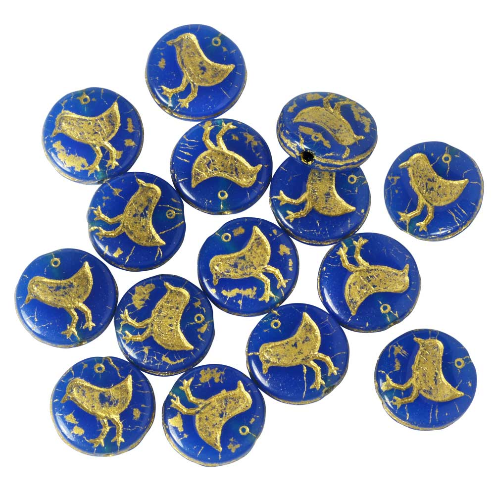 Czech Glass Beads, Bird Coin 11mm, Blue Opaline with Gold Wash, 1 Strand, by Raven's Journey