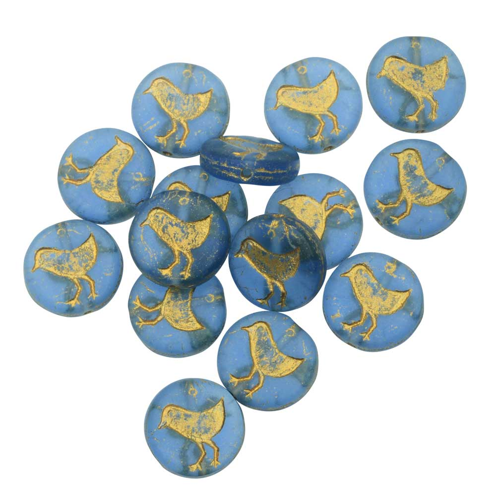 Czech Glass Beads, Bird Coin 11mm, Stormy Blue Transparent Matte, Gold, 1 Str, by Raven's Journey