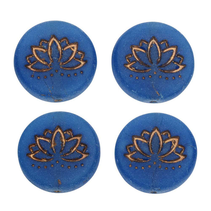 Czech Glass Beads, Lotus Flower 18mm, Lapis Blue Opaline Matte, Dk Bronze, 4 Pc, by Raven's Journey