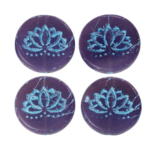 Czech Glass Beads, Lotus Flower Coin 18mm, Purple Opaline Matte, Turquoise, 4 Pc, by Raven's Journey
