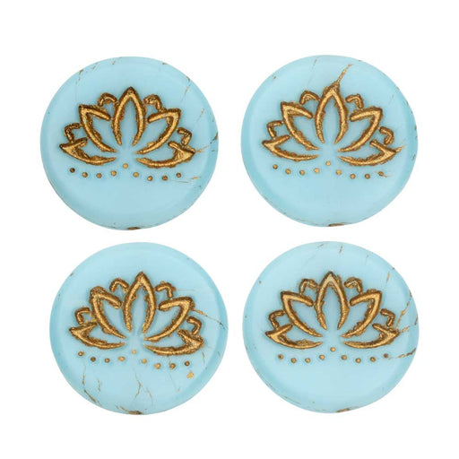 Czech Glass Beads, Lotus Flower Coin 18mm, Sky Blue Silk Matte, Gold Wash, 4 Pc, by Raven's Journey