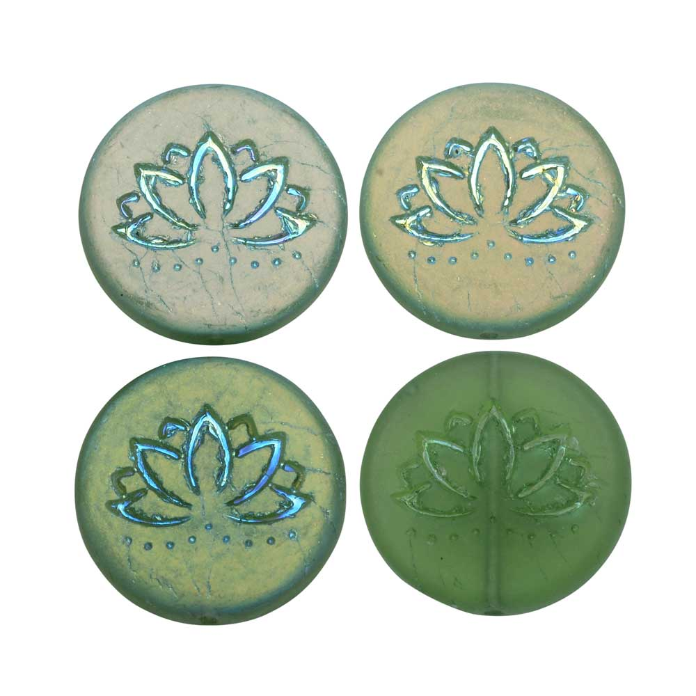 Czech Glass Beads, Lotus Flower Coin 18mm Tourmaline Green Matte AB 4 Pcs, by Raven's Journey
