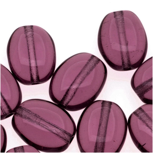 Czech Glass 8 x 6mm Flat Smooth Oval Amethyst Purple (25)