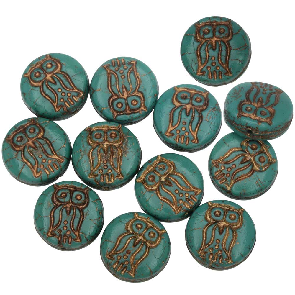 Czech Glass Beads, Owl Coin 13.5mm, Turquoise Green Opaque, Dark Bronze, 1 Str, by Raven's Journey