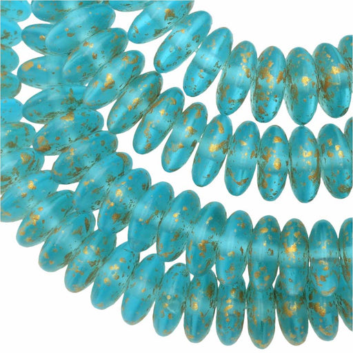 Czech Glass Beads, Spacer Disc 6mm, Aqua Blue Matte, Speckled Gold, 1 Str, by Raven's Journey