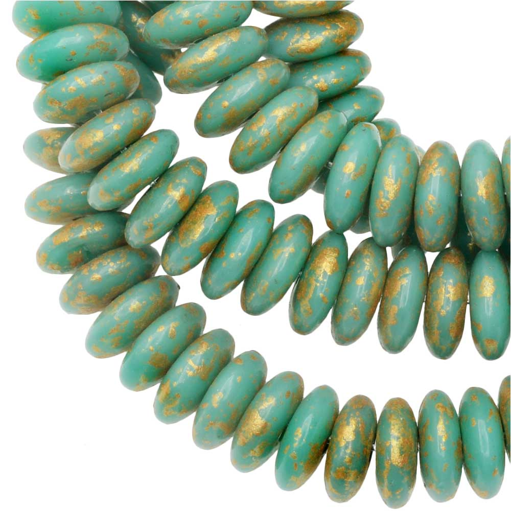 Czech Glass Beads, Spacer Disc 6mm, Green Turquoise Opaque, Antique Gold, 1 Str, by Raven's Journey