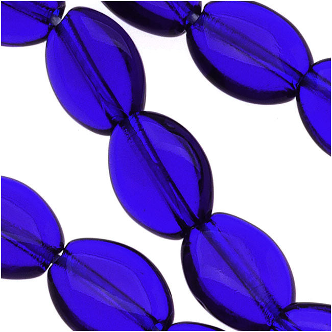 Czech Glass 8 x 6mm Flat Smooth Oval Cobalt Blue (25)