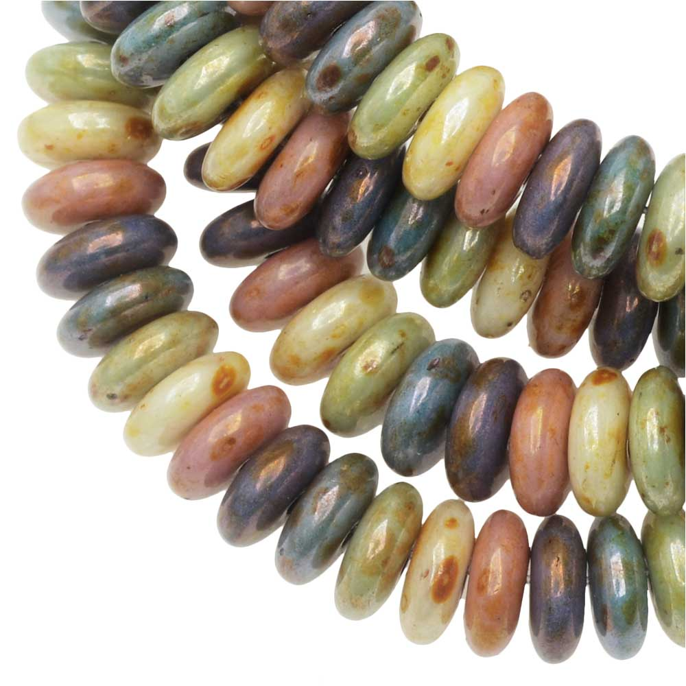 Czech Glass Beads, Spacer Disc 6mm, Rainbow Mix Opaque, Natural Stone, 1 Strand, by Raven's Journey