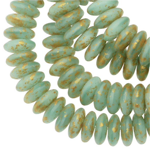 Czech Glass Beads, Spacer Disc 6mm, Sea Green Silk, Speckled Gold Finish, 1 Str, by Raven's Journey
