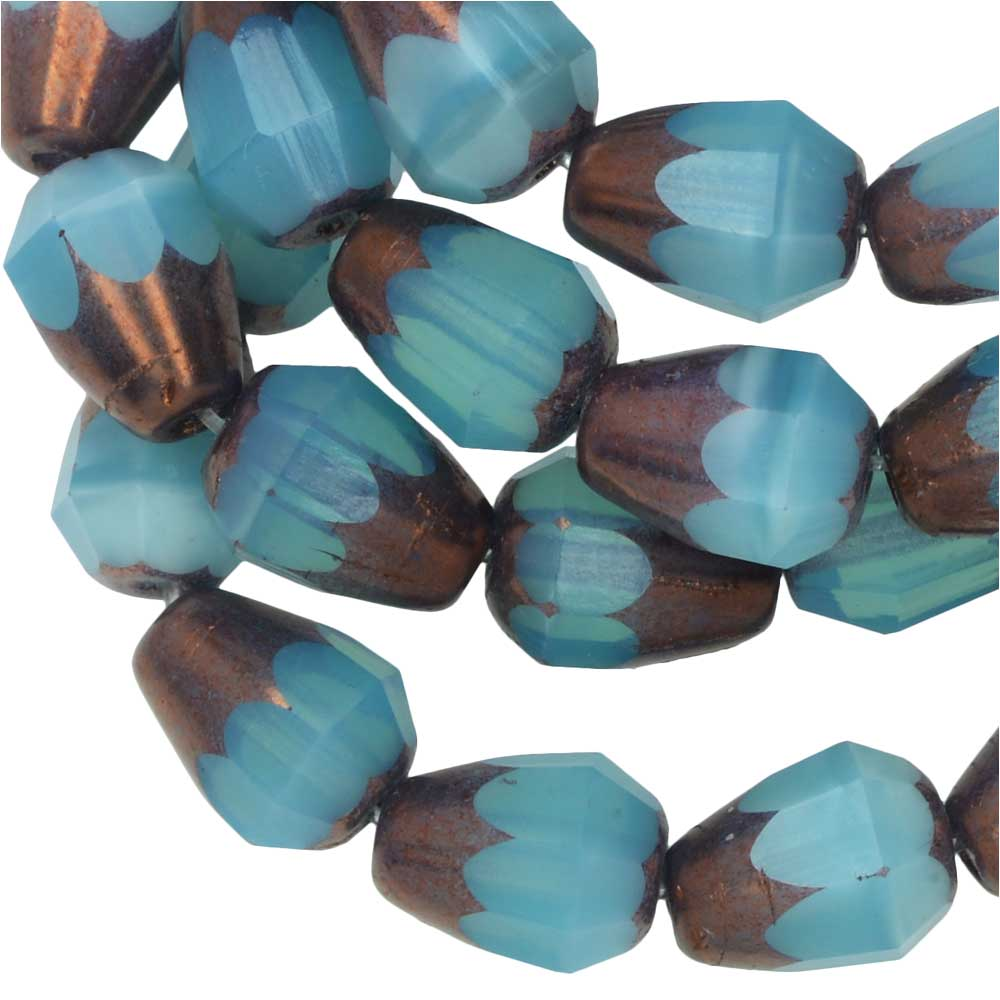 Czech Glass Beads, Faceted Bottom Cut Drop 8mm, Aqua Blue Opal,Purple Bronze, 1 Str, Raven's Journey