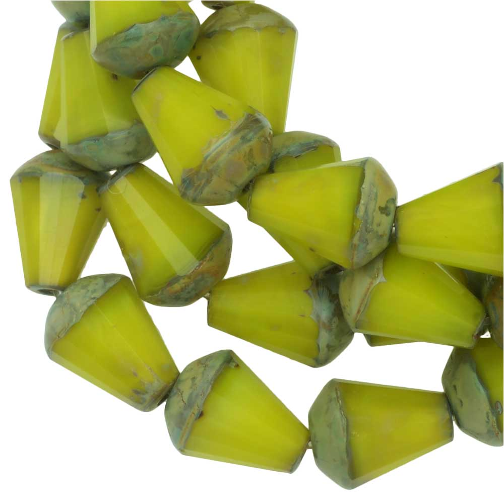 Czech Glass Beads, Faceted Top Cut Drop 8mm, Lime Green Silk, Picasso, 1 Strand, by Raven's Journey