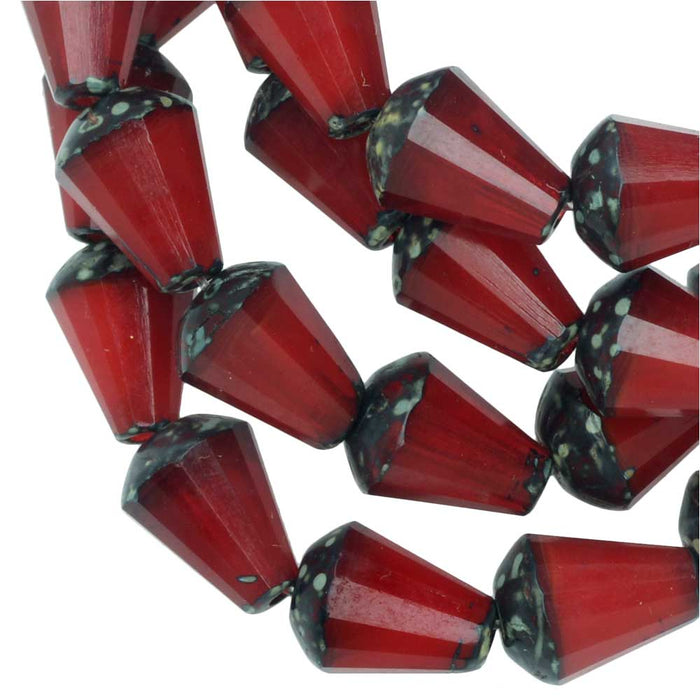 Czech Glass Beads, Faceted Top Cut Drop 8mm, Red Opaline, Picasso Finish, 1 Str, by Raven's Journey