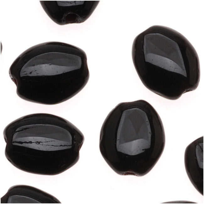 Czech Glass 8 x 6mm Flat Smooth Oval Jet Black (25 Beads)