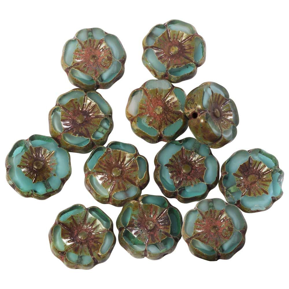 Czech Glass Beads, Hibiscus Flower 11mm, Aqua Green & White, Dk Picasso, 1 Str, by Raven's Journey