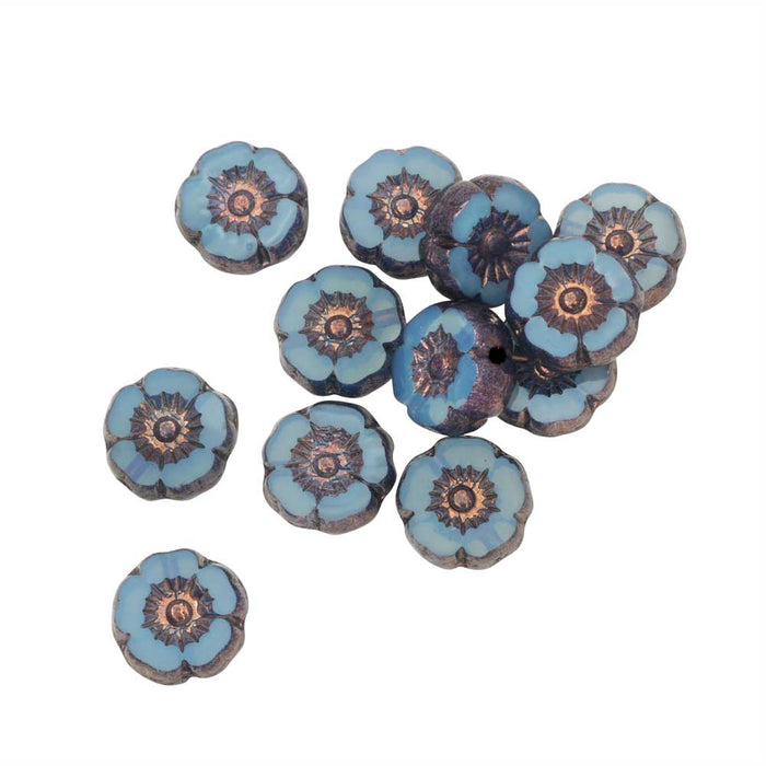 Czech Glass Beads, Hibiscus Flower 9mm, Aqua Blue Opaline, Bronze Finish, 1 Str, by Raven's Journey