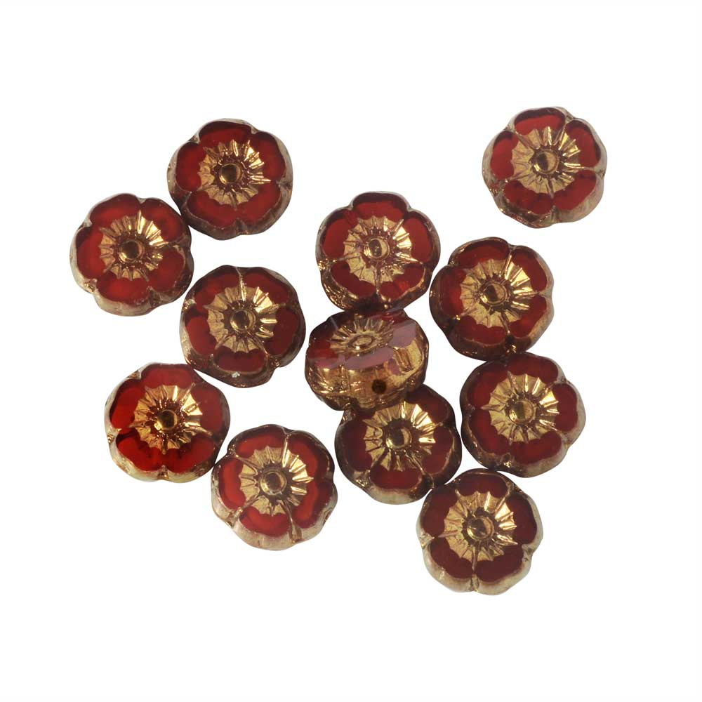 Czech Glass Beads, Hibiscus Flower 9mm, Red Opaline with Bronze Finish, 1 Strand, by Raven's Journey