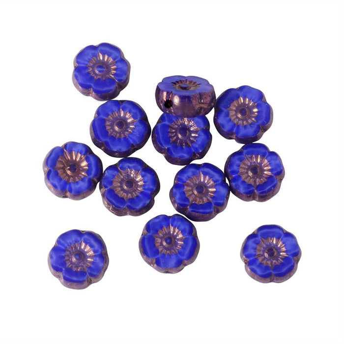 Czech Glass Beads, Hibiscus Flower 9mm, Royal Blue Silk, Bronze Finish, 1 Strand, by Raven's Journey