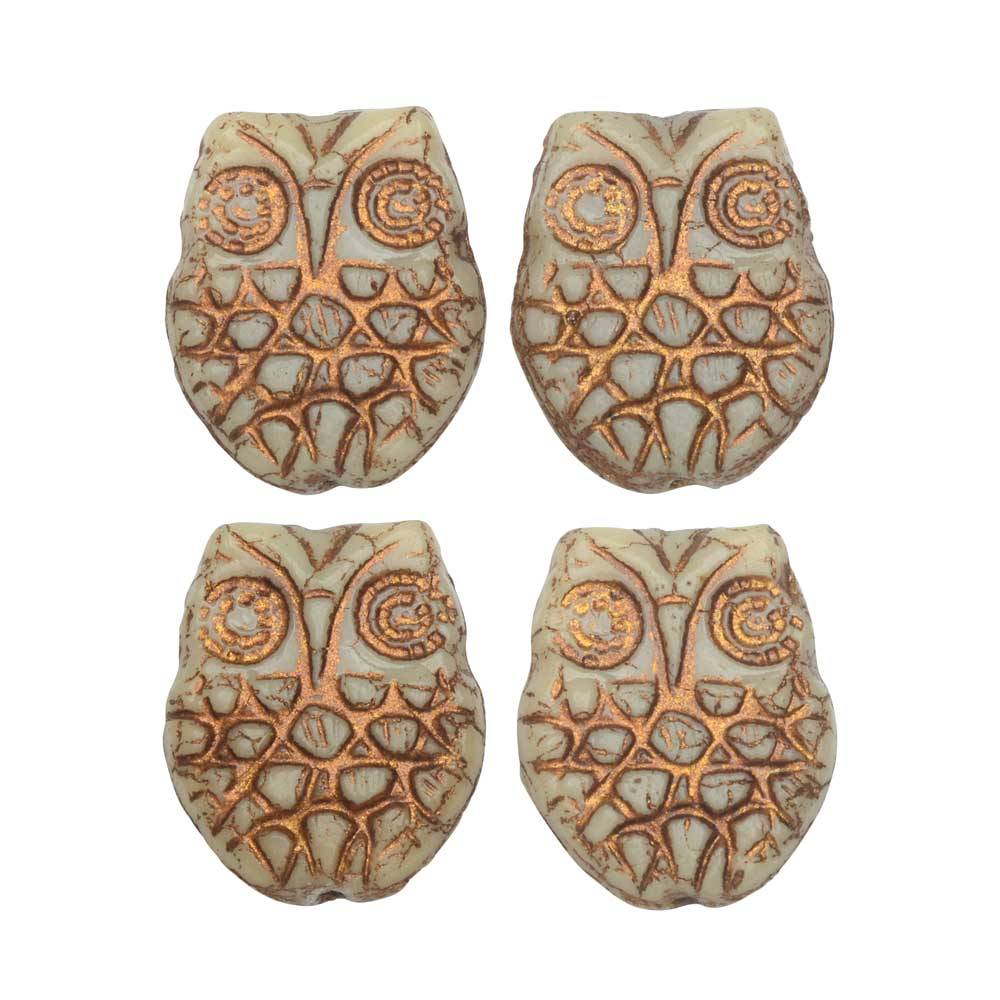 Czech Glass Beads, Owl 18mm, Ivory Opaque with Dark Bronze Wash, 4 Pieces, by Raven's Journey