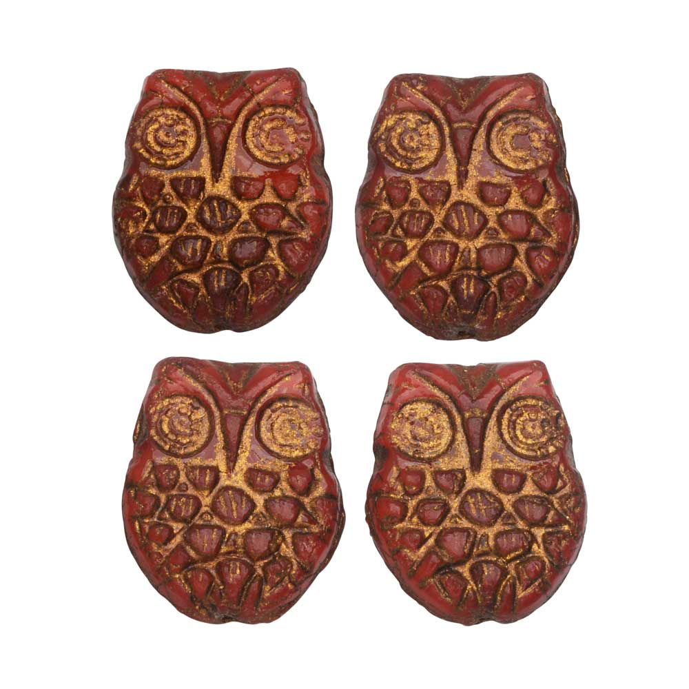 Czech Glass Beads, Owl 18mm, Orange Opaline with Dark Bronze Wash, 4 Pieces, by Raven's Journey