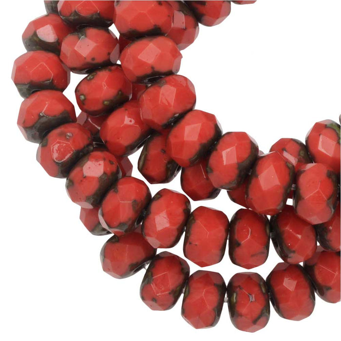 Czech Glass Beads, Faceted Rondelle 3x5mm, Coral Red Opaque, Picasso Finish, 1 Str, by Raven's Journey