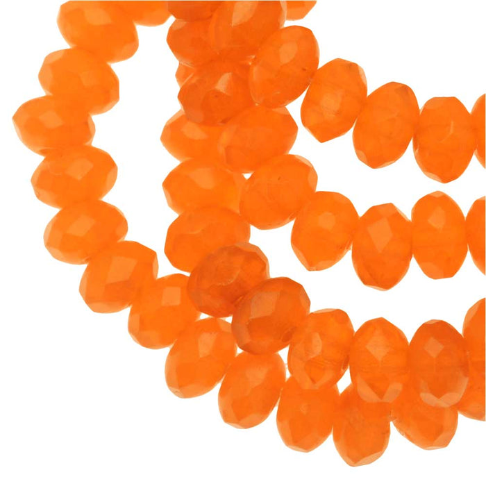 Czech Glass Beads, Faceted Rondelle 3x5mm, Orange Opaline, 1 Strand, by Raven's Journey