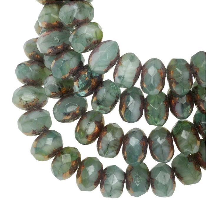 Czech Glass Beads, Faceted Rondelle 3x5mm, Sage and Green Mix Opaque,Bronze, 1 Str, by Raven's Journey