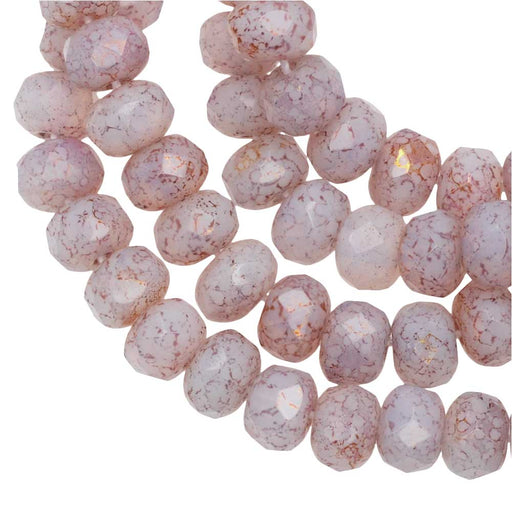 Czech Glass Beads, Faceted Rondelle 3x5mm, White Opaline, Pink/Gold Luster, 1 Str, by Raven's Journey