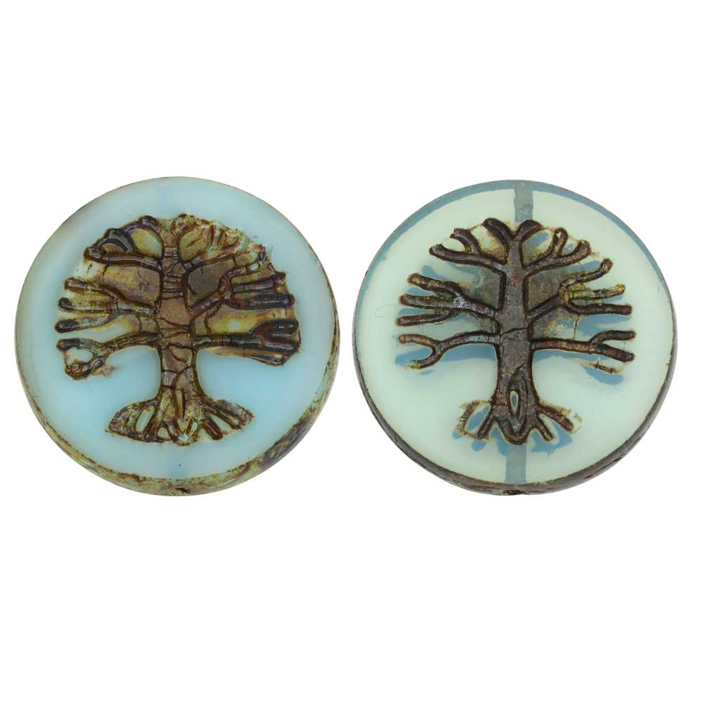 Czech Glass Beads, Tree of Life Coin 21.5mm, Aqua Opaline, Picasso Finish, 2 Pc, by Raven's Journey