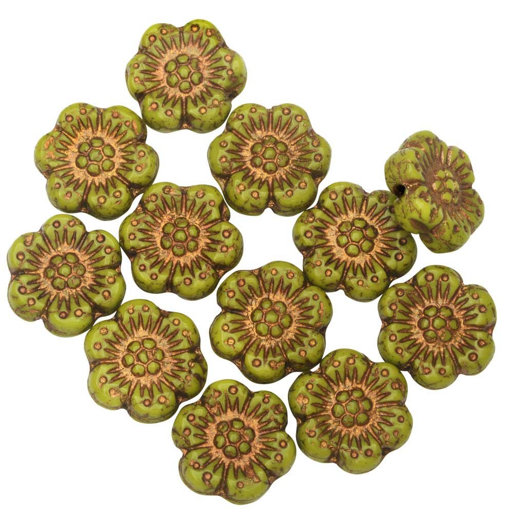 Czech Glass Beads, Wild Rose Flower 14mm, Gaspeite Green, Dark Bronze, 1 Str, by Raven's Journey