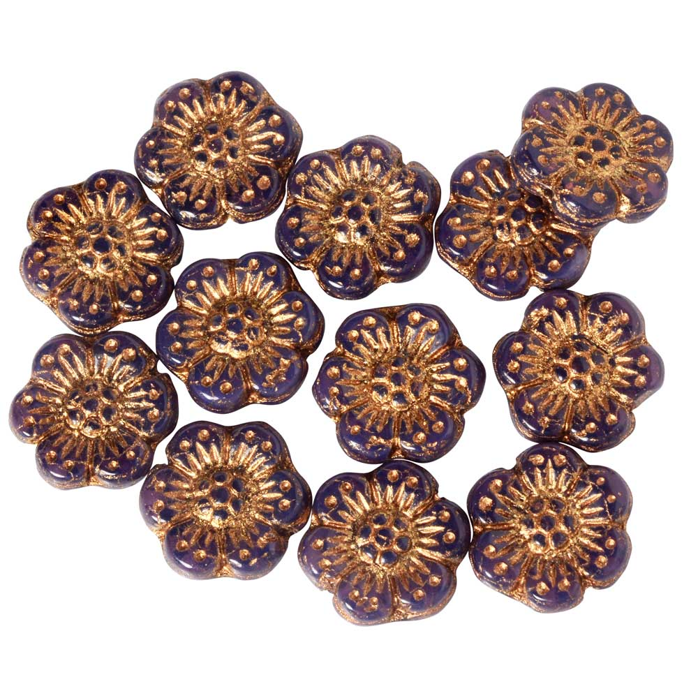 Czech Glass Beads, Wild Rose Flower 12.5mm, Purple Opaline, Dark Bronze, 1 Str, by Raven's Journey