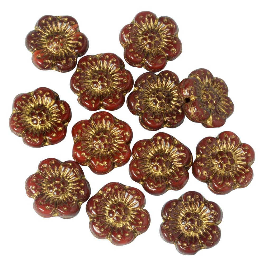 Czech Glass Beads, Wild Rose Flower 12.5mm, Red Opaline, Dark Bronze Wash, 1 Str, by Raven's Journey