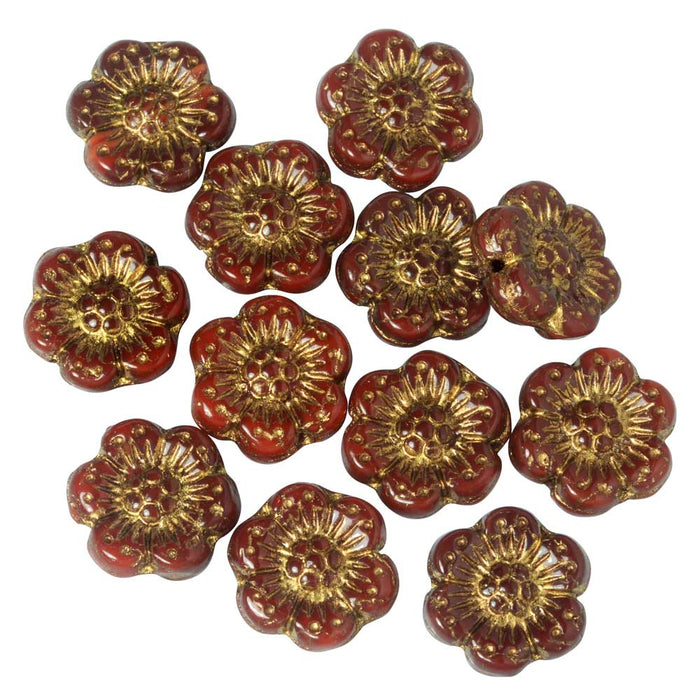 Czech Glass Beads, Wild Rose Flower 14mm, Red Opaline, Dark Bronze Wash, 1 Str, by Raven's Journey