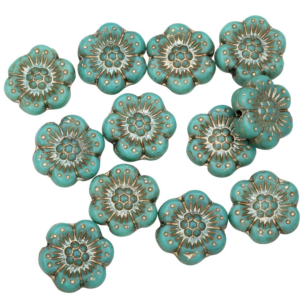 Czech Glass Beads, Wild Rose Flower 12.5mm, Turquoise Opaque, Platinum, 1 Str, by Raven's Journey