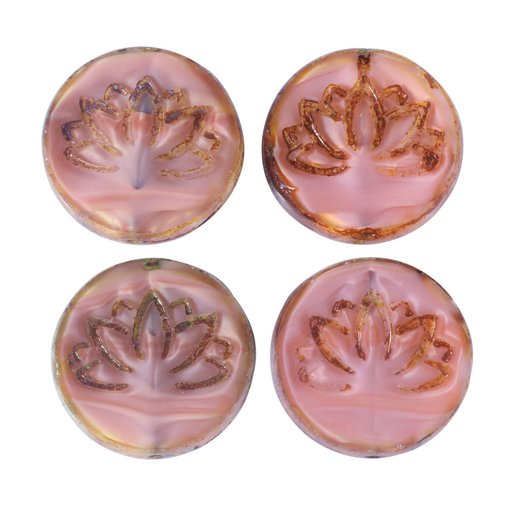 Czech Glass Beads, Lotus Flower Coin 18mm, Pink Silk, Picasso Finish, 4 Pieces, by Raven's Journey