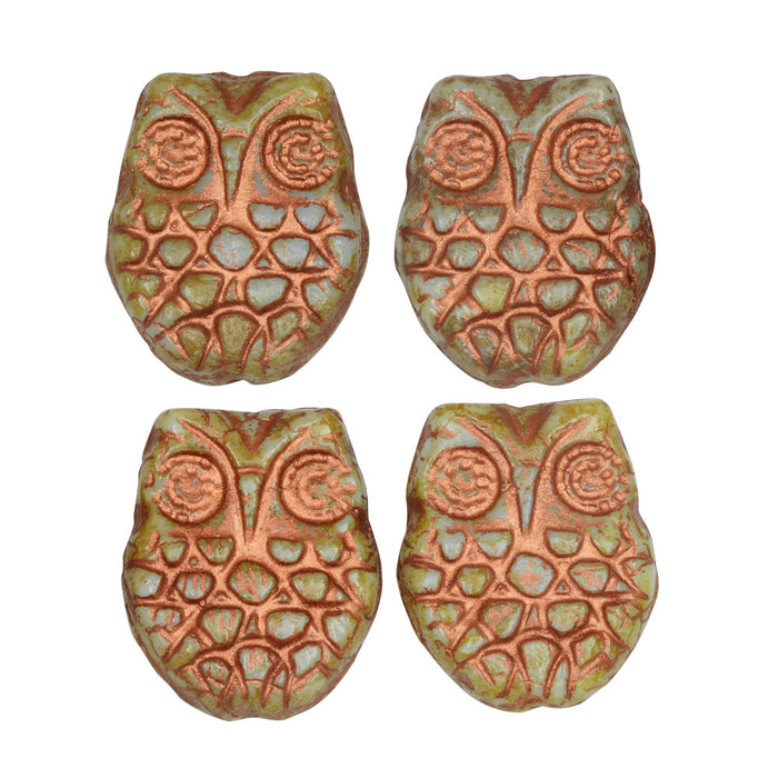 Czech Glass Beads, Horned Owl 18mm, Light Blue, Picasso Finish and Copper Wash, 4 Pieces, by Raven's Journey
