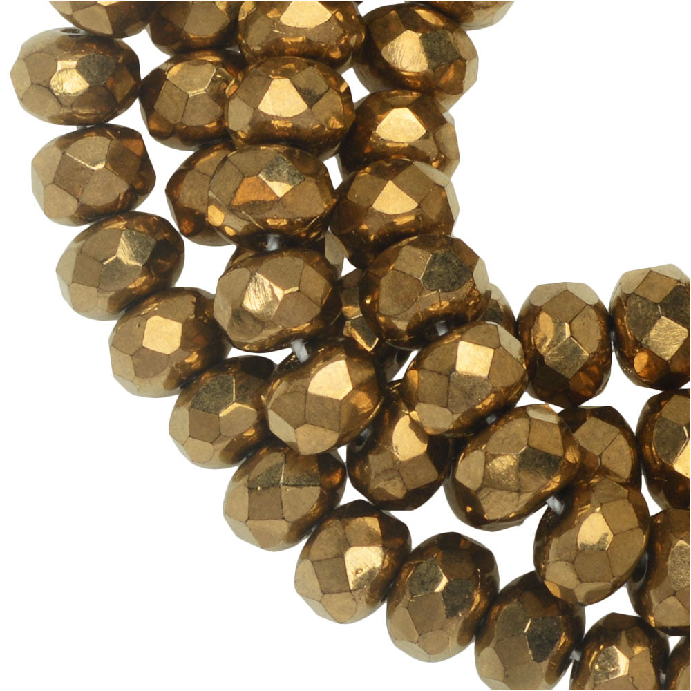 3x5mm Czech Faceted Rondelle 30strand Orchid with a Bronze Finish
