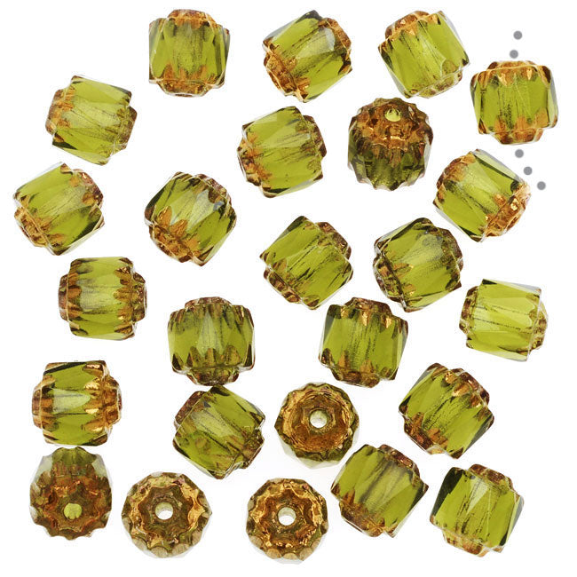 Czech Glass, Cathedral Beads 6mm, 25 Pieces, Olivine with Antiqued Bronze Ends