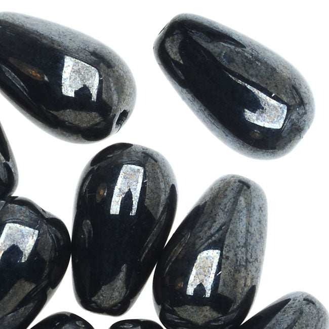 Czech Glass, Smooth Tear Drop Beads 10x6mm, 20 Pieces, Hematite