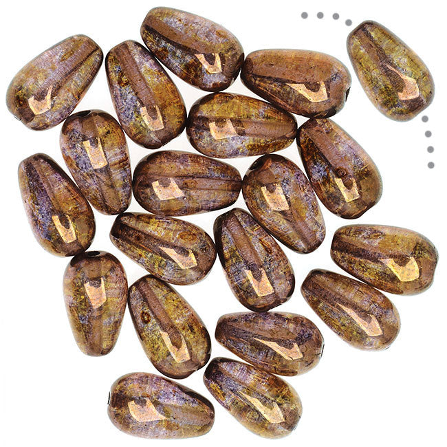 Czech Glass, Smooth Tear Drop Beads 10x6mm, 20 Pieces, Luminescent Brown