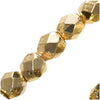 Czech Fire Polished Glass Beads 3mm Round Metallic Gold (50)