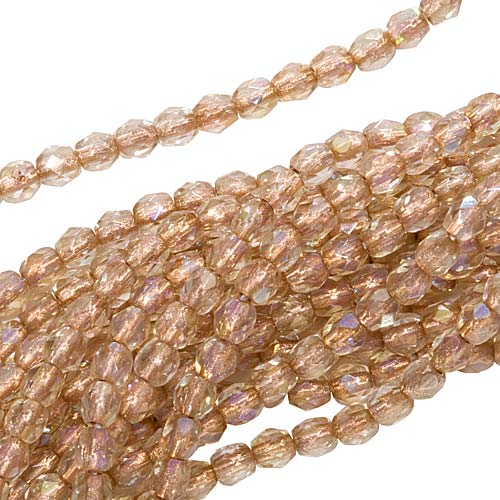 Czech Fire Polished Glass Beads 3mm Round Crystal Copper Lined AB (50)
