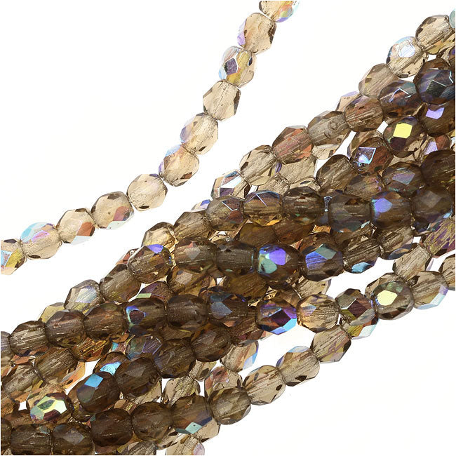 Czech Fire Polished Glass Beads 3mm Round Smoke Topaz AB (50)