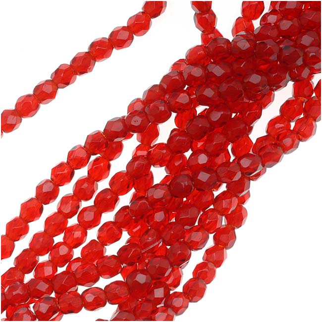 Czech Fire Polished Glass Beads 3mm Round Siam Ruby Red (50)